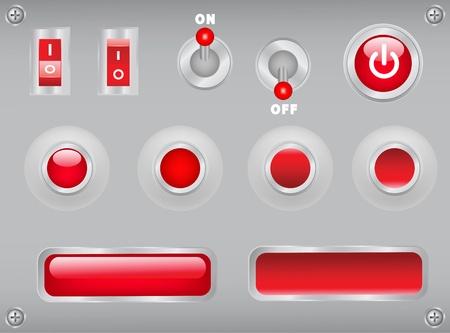 empezar: botones, palancas, interruptores en la placa de metal con tornillos