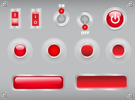 buttons, toggles, switches on metal plate with screws Vector