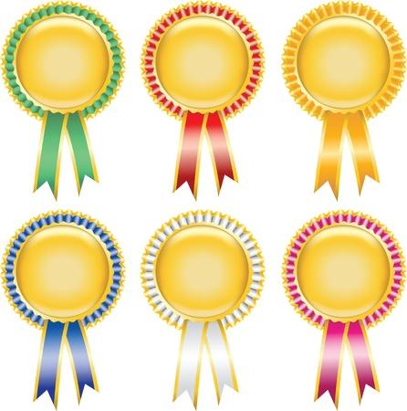 Six blank award ribbon rosettes