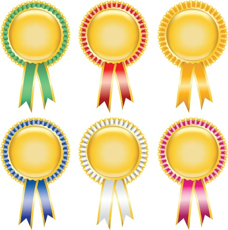 award ribbon rosette: Six blank award ribbon rosettes