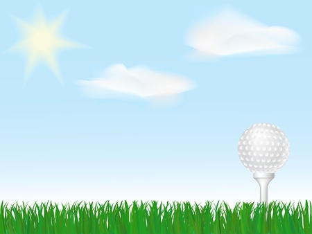 Golf ball on tee on green grass under sky with clouds and sun Vector