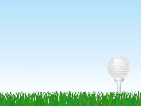 Golf ball on tee on green grass  Vector