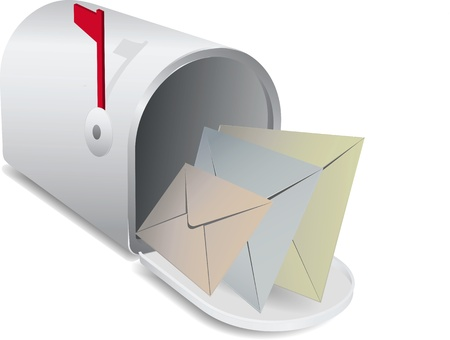 post box: vector mail box with letter inside