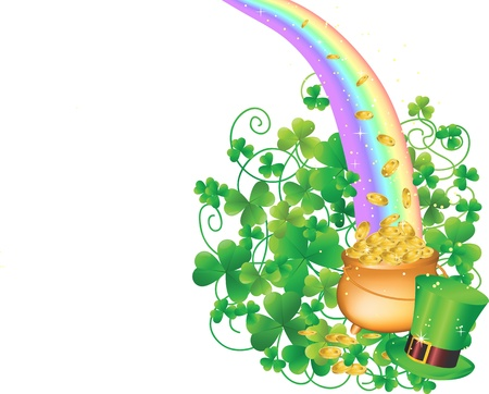 Pot of Gold and Rainbow  Stock Vector - 12423816