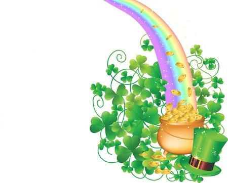 Pot of Gold en Rainbow Stock Illustratie