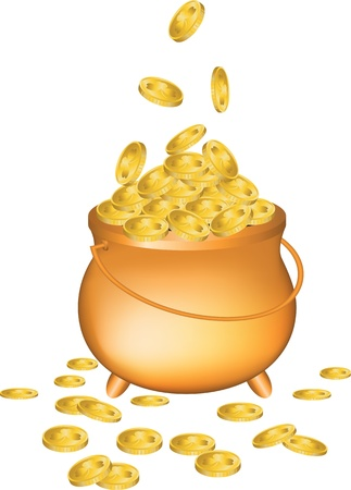 pot of gold: Pot full of gold coins isolated on white background