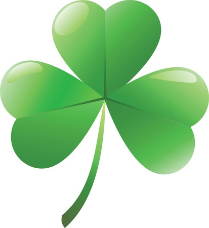 clover leaf shape: Irish shamrock  isolated over white background  Illustration