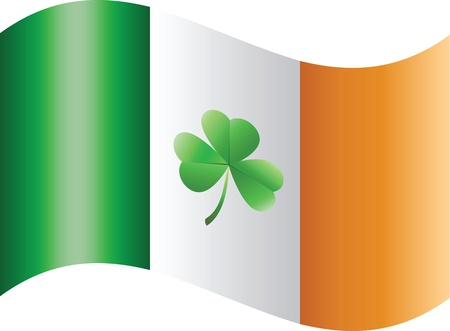 Flag of Ireland with shamrock Vector