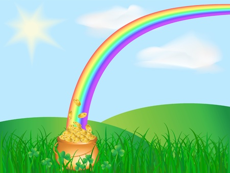 vector pot of gold coins and rainbow on the field  Vector