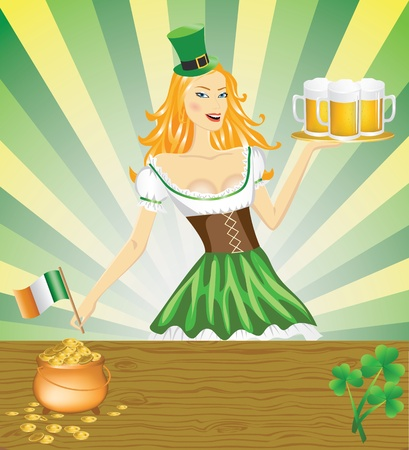 women s hat: Cute girl serving Saint Patrick