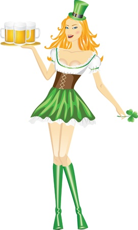 bartender: Cute girl desservant Saint Patrick