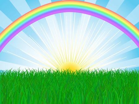 vector grass and sky with rainbow Stock Vector - 12423826