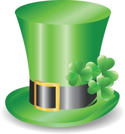 Réplicon chapeau irlandais avec trois trèfles trèfle Vecteurs