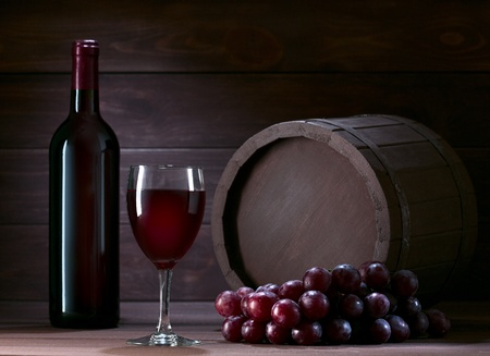 bottle of wine in the cellar of  wooden Stock Photo