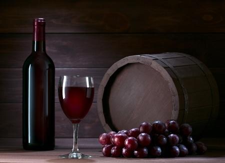 bottle of wine in the cellar of  wooden Standard-Bild