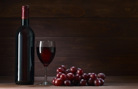brown cork: bottle of wine in the cellar of  wooden Stock Photo