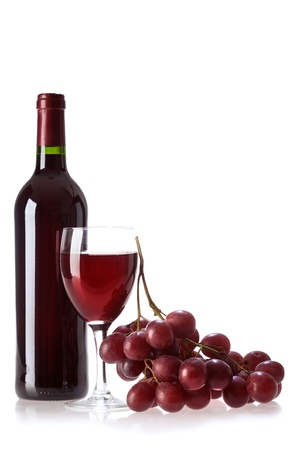 bottle of vine on white background photo