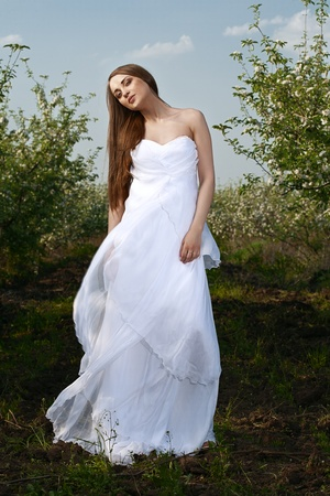 beauty young woman in the apple garden Stock Photo - 13411325