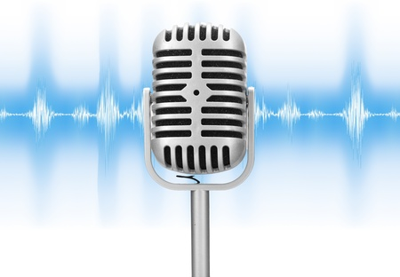 retro microphone with audio wave isolated over white background photo
