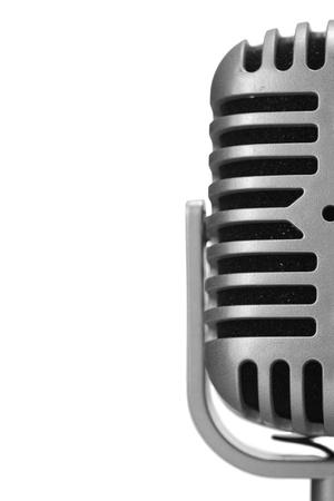Microfono retro isolato su sfondo bianco Archivio Fotografico