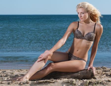 beauty sexy woman on beach in bikini photo