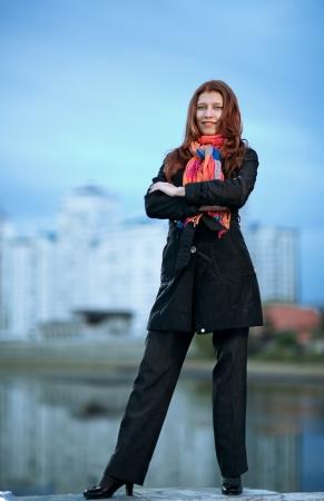 beautiful city woman stand  on a street Stock Photo - 16119109
