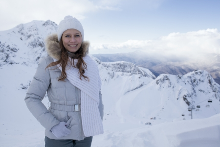 happy woman in snow mountain Stock Photo - 17507051