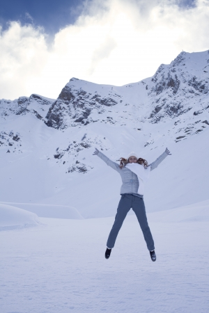 happy woman in snow mountain Stock Photo - 17507056