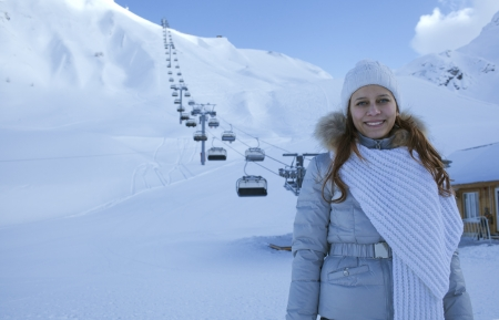 happy woman in snow mountain Stock Photo - 17507058