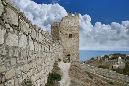 genoese: Genoese fortress in  town of Feodosia  Crimea, Ukraine