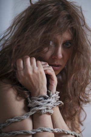 beauty redhaired woman bondage rope Stock Photo - 17867023