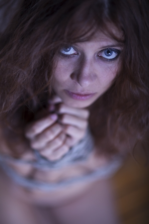beauty redhaired woman bondage rope Stock Photo - 17866994