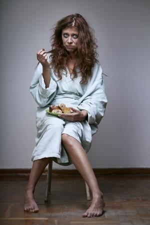 derrumbe: mujer que sufre de una depresión severa
