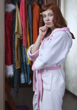 woman can not choose what to wear Stock Photo - 18035306