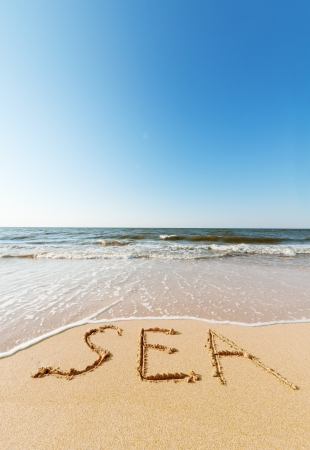 sea beach with sand word sea photo