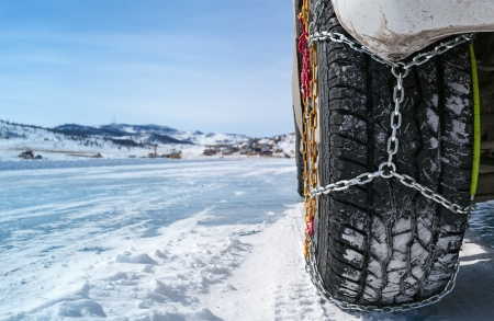 wheel of a car with chains on snow photo
