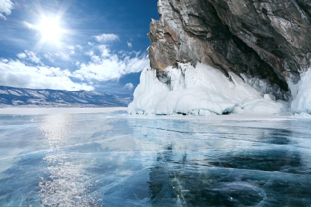 frozen lake: landscape of Lake Baikal in winter Stock Photo