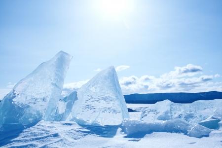 Winter ice landscape on  lake Baikal  photo