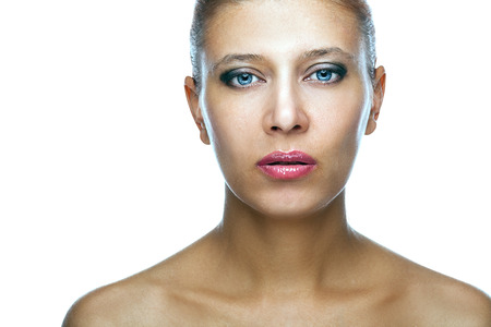 beauty woman over white background photo
