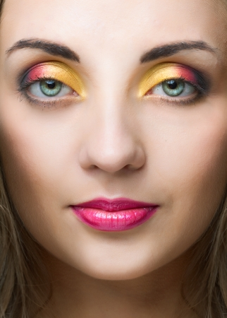 beauty woman face with bright make-up over white background Stock Photo - 24369308