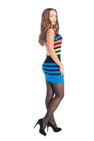 beauty woman in colored stripe dress over white background Stock Photo - 24369310