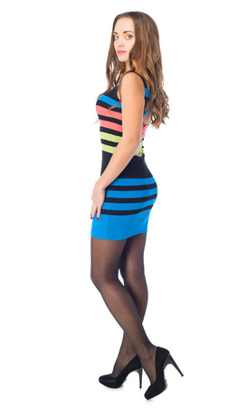 beauty woman in colored stripe dress over white background Stock Photo - 24369311