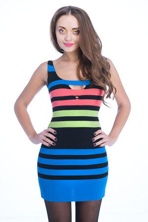 beauty woman in colored stripe dress over white background Stock Photo - 24369316
