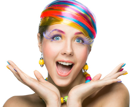 beauty woman with bright makeup over white background