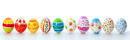 easter color eggs over white  Stock Photo