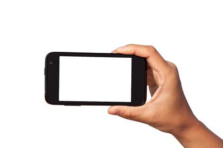 smartphone in de hand over een witte achtergrond