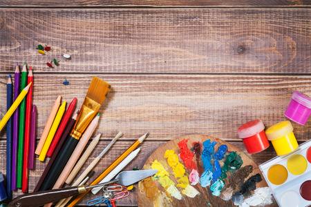art and craft equipment: Items for childrens creativity, background