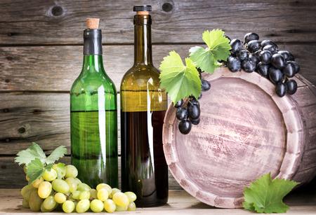 goblet: bottle of vine on  wooden background