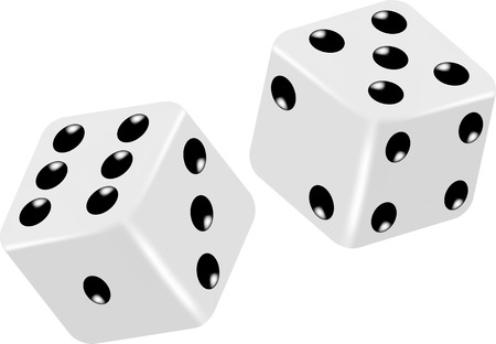 Two Vector White Dice Vector