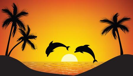 delfines saltando desde el mar al atardecer
